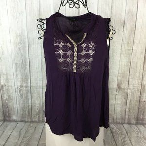 E Hanger M Women's Plum Purple Lace Crochet Shirt